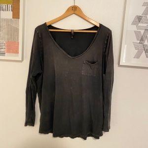 Torrid heather dark gray long sleeve tee shirt